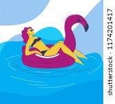girl in the summer on an... | Shutterstock .eps vector #1174201417