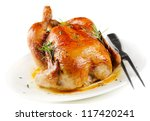 Roasted Chicken Isolated On...