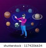 isometric man in virtual...   Shutterstock .eps vector #1174206634