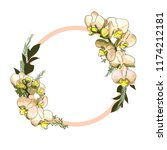vector orchids bouquet circle | Shutterstock .eps vector #1174212181