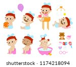 different baby poses and... | Shutterstock .eps vector #1174218094