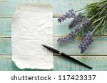 Stock photo flowers on vintage wood with blank 117423337