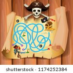 a pirate maz game template... | Shutterstock .eps vector #1174252384