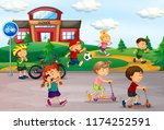 student playing at schoolyard... | Shutterstock .eps vector #1174252591