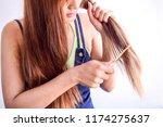 closeup portrait of female...   Shutterstock . vector #1174275637