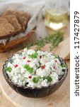 pate of cottage cheese with herbs and chili - stock photo
