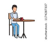man drinking coffee on table...   Shutterstock .eps vector #1174287337