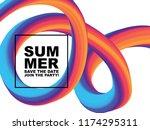 colorful 3d flow shapes.... | Shutterstock .eps vector #1174295311