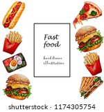 fast food set.watercoor hand... | Shutterstock . vector #1174305754
