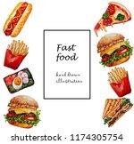 fast food set.watercoor hand... | Shutterstock . vector #1174305754
