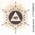 tattoo flash. eye of providence.... | Shutterstock .eps vector #1174308331