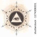tattoo flash. eye of providence.... | Shutterstock .eps vector #1174308331