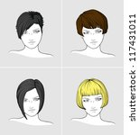 faces of four women with... | Shutterstock .eps vector #117431011