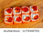 Small photo of Philadelphia roll with red caviar and cheese
