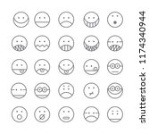 set of emoticon with simple... | Shutterstock .eps vector #1174340944