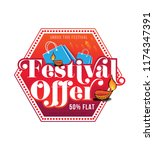 diwali festival offer sticker ... | Shutterstock .eps vector #1174347391