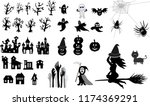 collection of halloween  icons  ... | Shutterstock .eps vector #1174369291