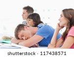 a sleeping student in class as... | Shutterstock . vector #117438571