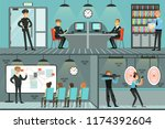 police department set ... | Shutterstock .eps vector #1174392604
