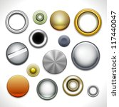 metal buttons and rivets... | Shutterstock .eps vector #117440047