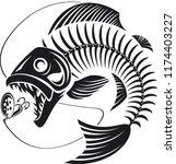 skeleton fish attack fishing... | Shutterstock .eps vector #1174403227