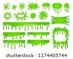 cartoon liquid slime. green goo ... | Shutterstock .eps vector #1174405744