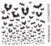 flying halloween bat. cave bats ... | Shutterstock .eps vector #1174405747