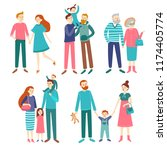 family couples. father and... | Shutterstock .eps vector #1174405774