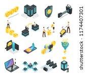 isometric blockchain. safe... | Shutterstock .eps vector #1174407301