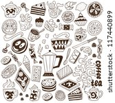 coffee and sweets   doodles... | Shutterstock .eps vector #117440899