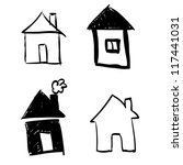 set of hand drawn houses | Shutterstock .eps vector #117441031