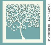 square tree with curls.... | Shutterstock .eps vector #1174422934