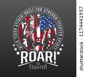 tiger fighter typography with... | Shutterstock .eps vector #1174441957