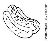 line drawing cartoon hotdog in... | Shutterstock .eps vector #1174466284