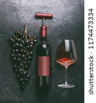 red wine concept with bottle... | Shutterstock . vector #1174473334