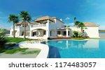 3d rendering luxury villa with... | Shutterstock . vector #1174483057