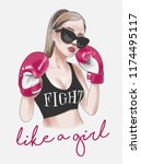 girl fight slogan with boxer... | Shutterstock .eps vector #1174495117