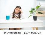 homework concept. girl do... | Shutterstock . vector #1174500724