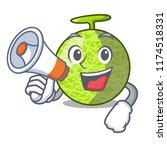 with megaphone fresh melon... | Shutterstock .eps vector #1174518331
