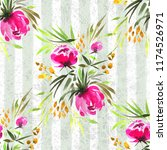 floral  watercolor seamless... | Shutterstock . vector #1174526971
