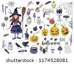 watercolor hand drawn halloween ... | Shutterstock . vector #1174528081
