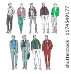fashion man. set of fashionable ... | Shutterstock . vector #1174549177