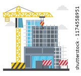 a scaffolding building which... | Shutterstock .eps vector #1174558951