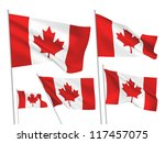 canada vector flags set. 5 wavy ... | Shutterstock .eps vector #117457075