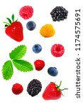 berry mix isolated on a white... | Shutterstock . vector #1174575691