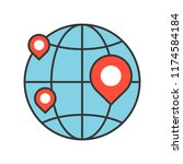pin on globe  location or... | Shutterstock .eps vector #1174584184