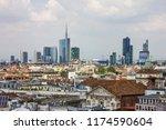 milan city modern buildings...   Shutterstock . vector #1174590604