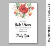 red rose wedding invitation... | Shutterstock .eps vector #1174601281