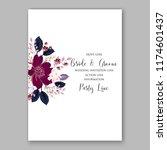 red rose wedding invitation... | Shutterstock .eps vector #1174601437