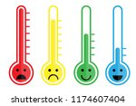 cute cartoon thermometer with... | Shutterstock .eps vector #1174607404